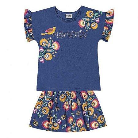 Conjunto Infantil Blusa + Short Saia Azul Nanai 600264