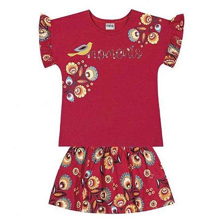 Conjunto Infantil Blusa + Short Saia Vermelho Nanai 600264