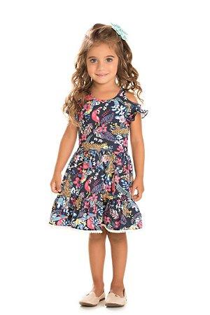 Vestido Infantil Fauna Azul Serelepe 5060