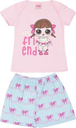 Pijama Infantil Feminino Camiseta Rosa + Short  Serelepe 5128