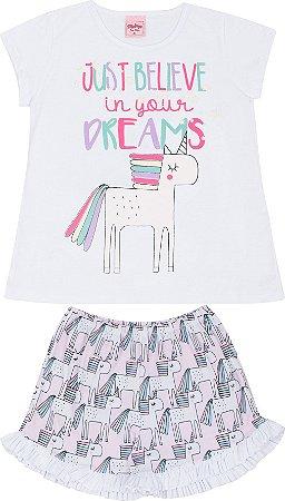 Pijama Infantil Camiseta Uncornio Branca + Short Serelepe 5130