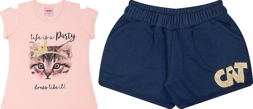 Conjunto Infantil Short Moletinho + Camiseta Rosa Serelepe 5051