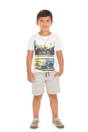 Conjunto Infantil Camiseta Branca + Short Moletinho Serelepe  5120