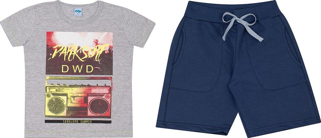 Conjunto Infantil Camiseta Mescla + Short Moletinho Serelepe  5120