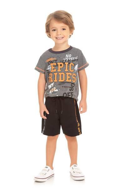 Conjunto Infantil Camiseta Mescla + Short Moletinho Serelepe  5646
