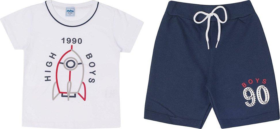Conjunto Infantil Maculino Camiseta Branca e Short Moletinho Serelepe 5654