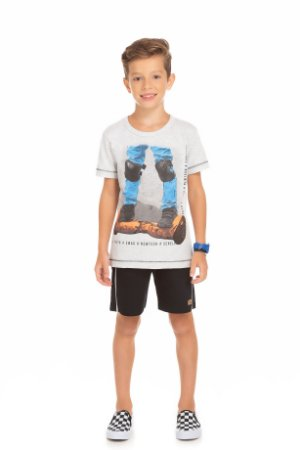 Conjunto Infantil Maculino Camiseta Branca e Short Moletinho Serelepe 5675