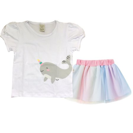 Conjunto Camiseta + Saia/Shorts de Tule Infantil Unicórnio Pingo Lelê 666099