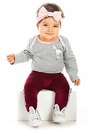 Calça bebê em Plush Vermelha Serelepe 5317