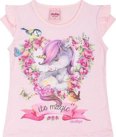 Camiseta Infantil Unicórnio Rosa Serelepe 5037
