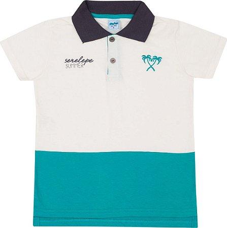 Camiseta Infantil Gola Polo Off + Verde Serelepe 5113