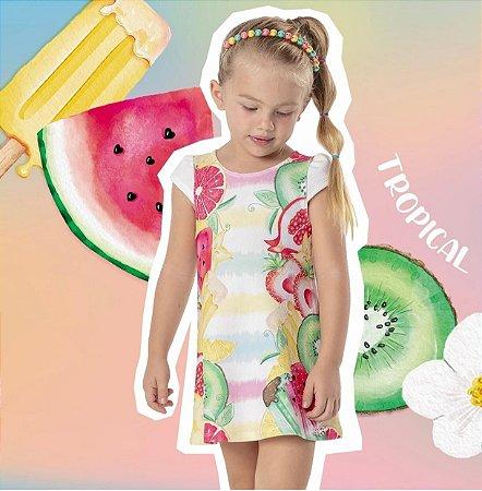 Vestido Curto Infantil Frutas Mon Sucre 7006