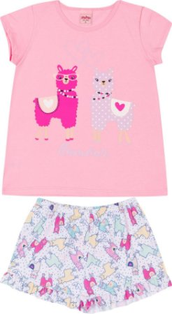 Pijama Infantil Camiseta Lhama Rosa + Short  Serelepe 5692