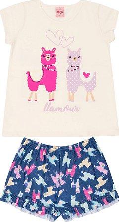 Pijama Infantil Camiseta Lhama Off + Short  Serelepe 5692