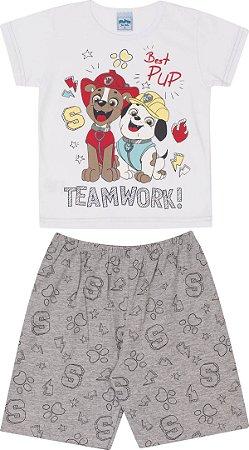 Pijama Infantil Camiseta Branca + Short Serelepe 5695