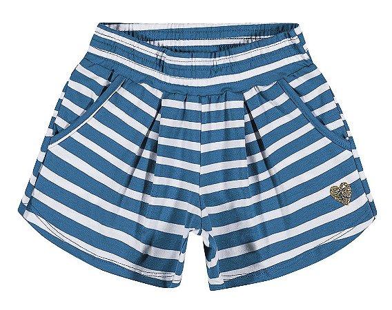 Short Malha Listrado Azul Kamylus 07272