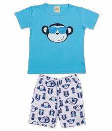 Pijama Infantil Camiseta Azul Claro + Bermuda Pingo Lelê  85060