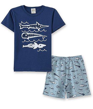 Pijama Infantil Camiseta Escamas + Short Pingo Lelê 86013