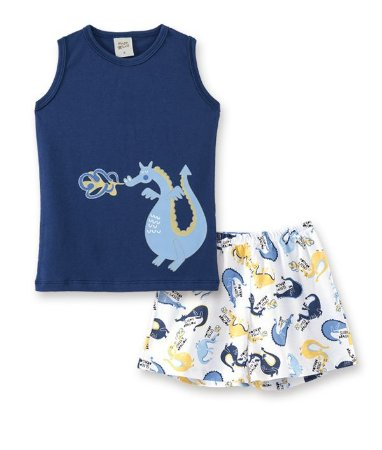 Pijama Infantil Regata Dragão + Short Pingo Lelê 86008