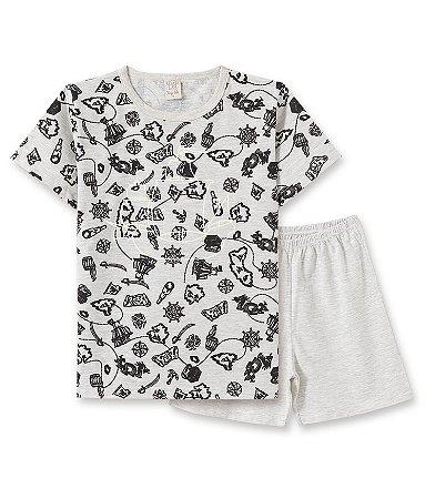 Pijama Infantil Camiseta Brilha no Escuro + Short 86067
