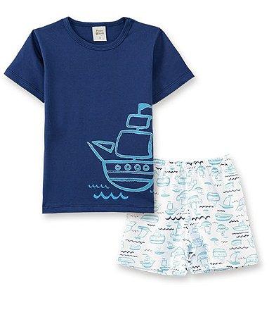 Pijama Infantil Camiseta Barco + Short Pingo Lelê 86021