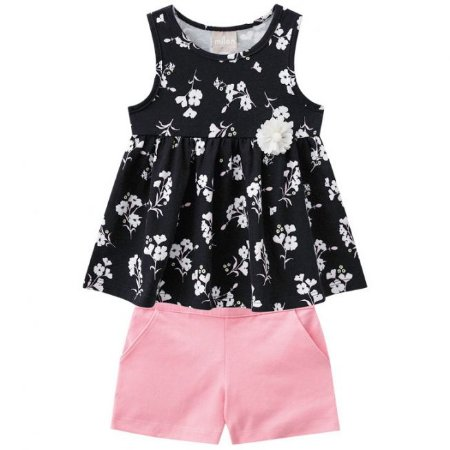 Conjunto Infantil Blusa Preta + Short Rosa Milon  11257