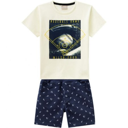 Conjunto Infantil Camiseta Amarela + Short Sarja Milon 11791