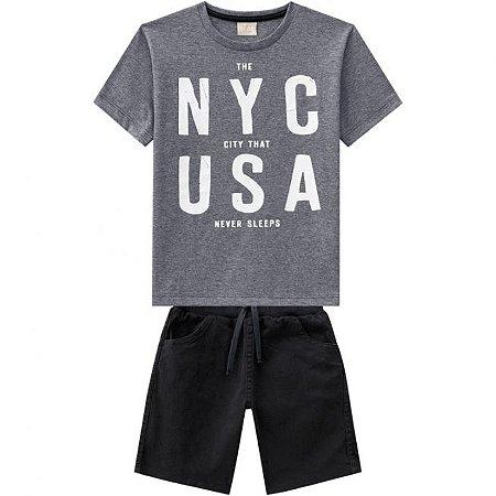 Conjunto Infantil Camiseta Mescla + Bermuda Sarja Milon 11821