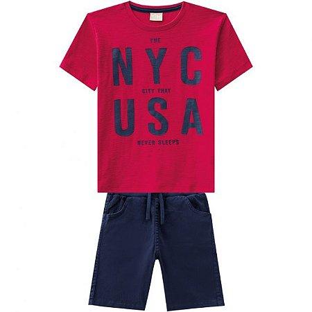 Conjunto Infantil Camiseta Vermelha + Bermuda Sarja Milon 11821
