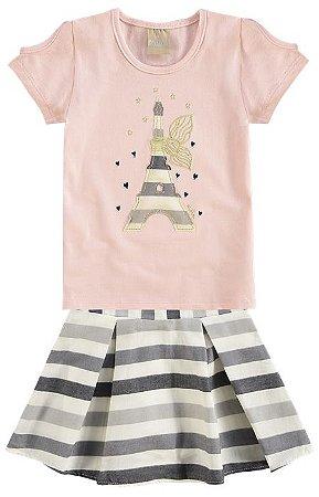 Conjunto Infantil Blusa Rosa + Saia Short Milon  10810