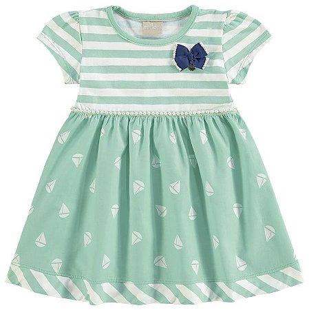 Vestido Infatil Listras Verde Milon 10782