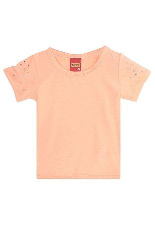 Blusa Baby Look Básica Infantil c/ Strass Laranja Kyly 107621
