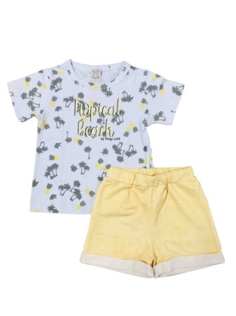 Conjunto Infantil Camiseta Tropical + Short Amarelo Pingo Lelê 66383