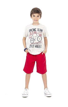 Conjunto Infantil Camiseta + Bermuda Sarja Pega Mania 76187