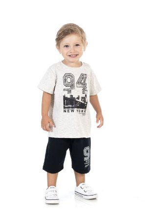 Conjunto Infantil Short Moletinho + Camiseta Pega Mania 76172