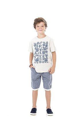Conjunto Bermuda Infantil Moletinho + Camiseta Pega Mania 76181