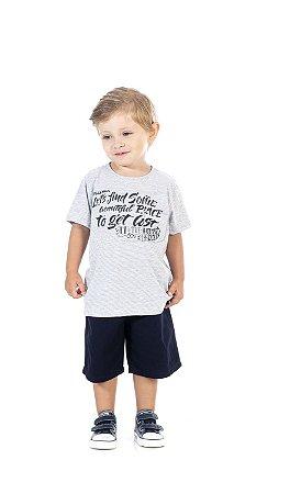 Conjunto Infantil Bermuda Sarja + Camiseta Pega Mania 76164