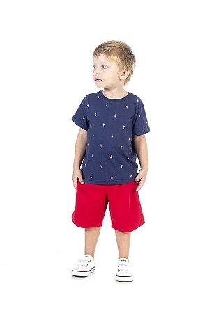 Conjunto Infantil Short em Sarja + Camiseta Pega Mania 76180