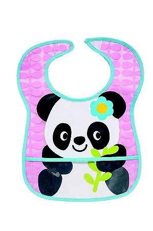 """Babador com Bolso Impermeável """"Panda"""" Rosa 5980"""
