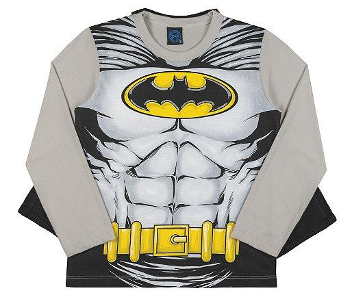 Camiseta Manga Longa Batman com Capa Kamylus 91516