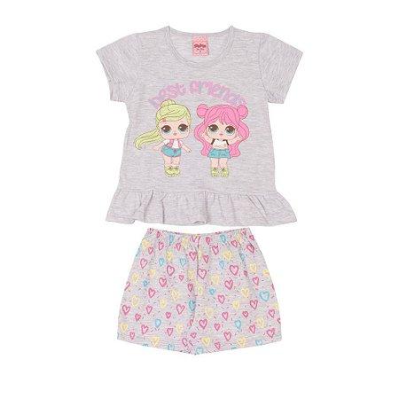 Pijama Infantil Curto Bonequinhas Serelepe 5689 Mescla