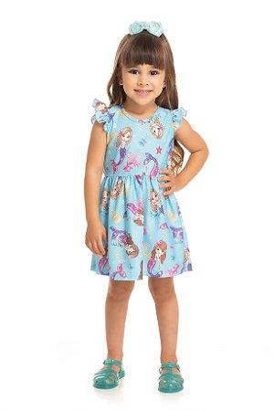 Vestido Infantil Curto Sereia Serelepe 5558 Azul