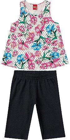 Conjunto Infantil Bermuda Cotton + Regata Florida Kyly  108678
