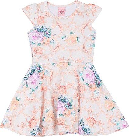 Vestido Infantil Florido Amarelo Serelepe 5055