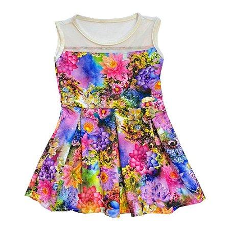 Vestido Infantil em Neoprene Rosa Serelepe 3858