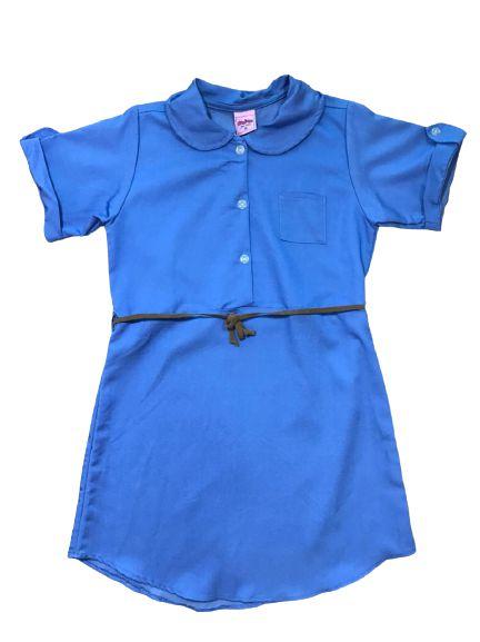 Vestido Gola Polo com Cinto Azul Claro Serelepe 4612