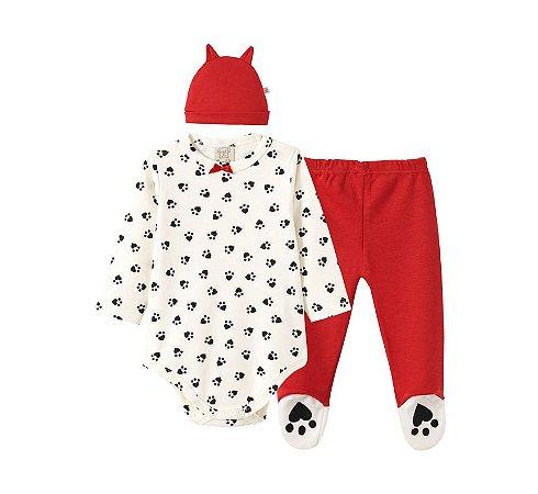 Conjunto Bebê Body Longo + Calça com Pé + Touca Vermelha Pingo Lelê 66662