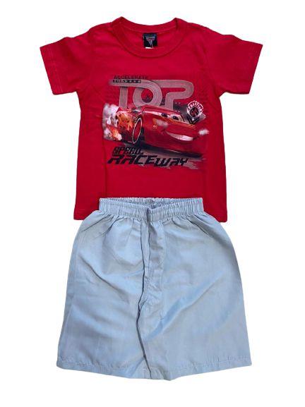 Conjunto Infantil Camiseta Carros Vermelha + Short Tactel 28719