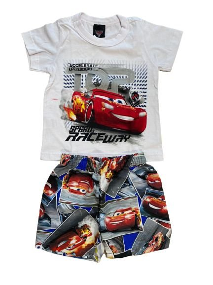 Conjunto Infantil Camiseta Carros Branca + Short Tactel 28719