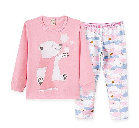 Pijama Longo Infantil Nuvens e Urso Pingo Lelê 76193